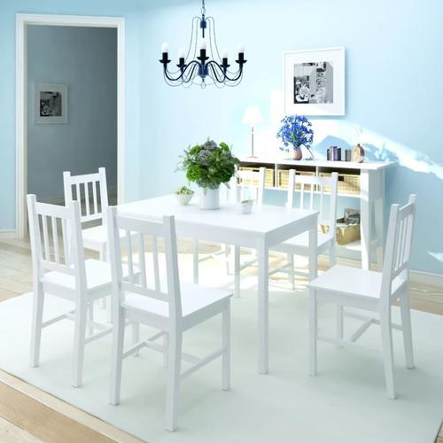 vidaXL Siebenteiliges Esstisch-Set Pinienholz Weiß