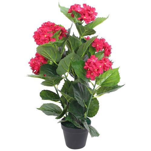vidaXL Künstliche Hortensie mit Topf 60 cm Rot