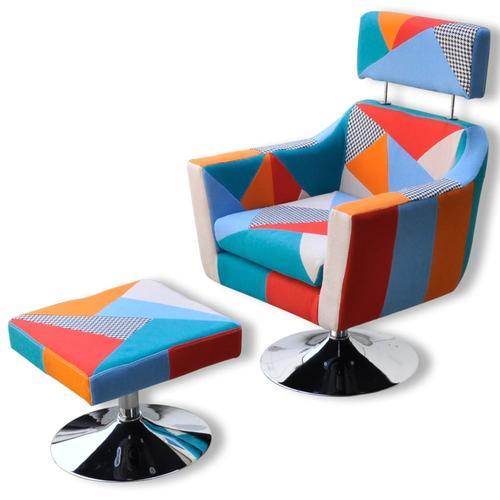 vidaXL Fernsehsessel mit Patchwork-Design Stoff