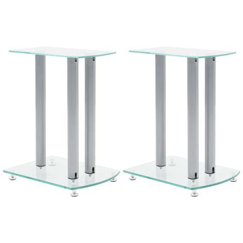 vidaXL 2x Luxus Lautsprecherständer Glas Lautsprecher NEU