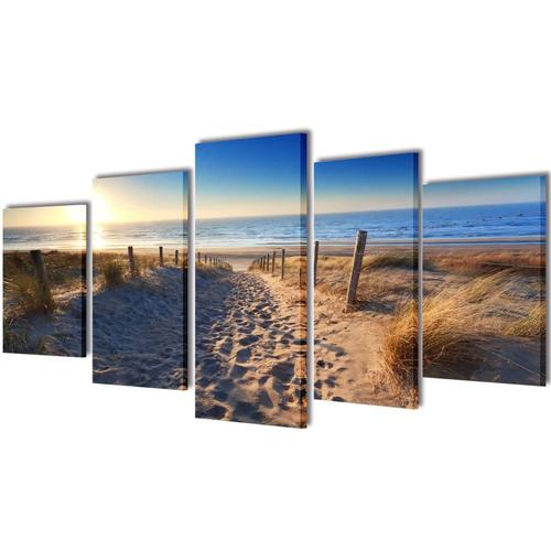 vidaXL Bilder Dekoration Set Strand 200 x 100 cm