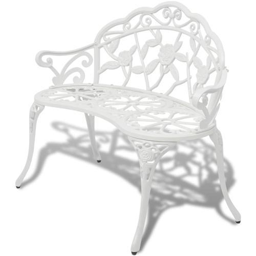 vidaXL Gartenbank 100 cm Aluminiumguss Weiß
