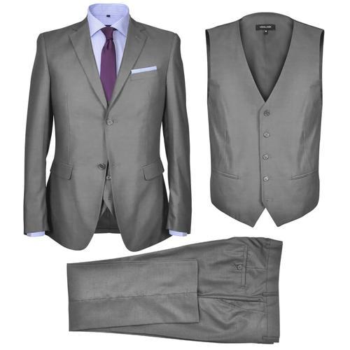 vidaXL Dreiteiliger Herren-Business-Anzug Größe 54 Grau