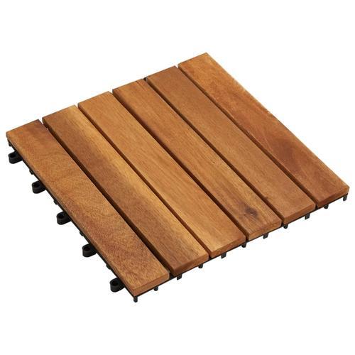 vidaXL 10 x Fliese aus Akazienholz 30 x 30 cm vertikales Muster
