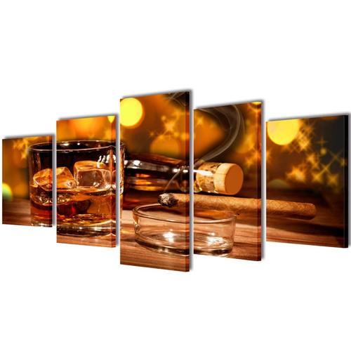 vidaXL Bilder Dekoration Set Whiskey und Zigarre 100 x 50 cm