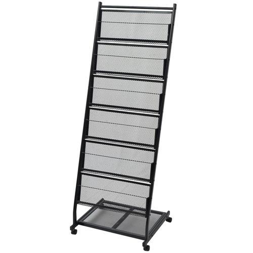 vidaXL Zeitschriftenständer 47,5×43×133 cm Schwarz A4