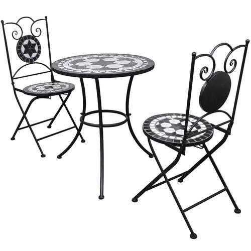 vidaXL 3-tlg. Bistro-Set Keramikfliese Schwarz/Weiß