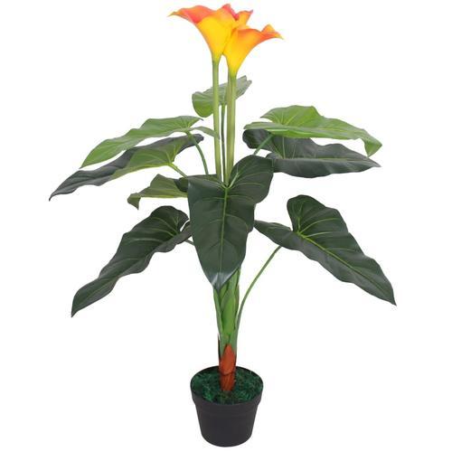 vidaXL Künstliche Calla-Lilie mit Topf 85 cm Rot und Gelb