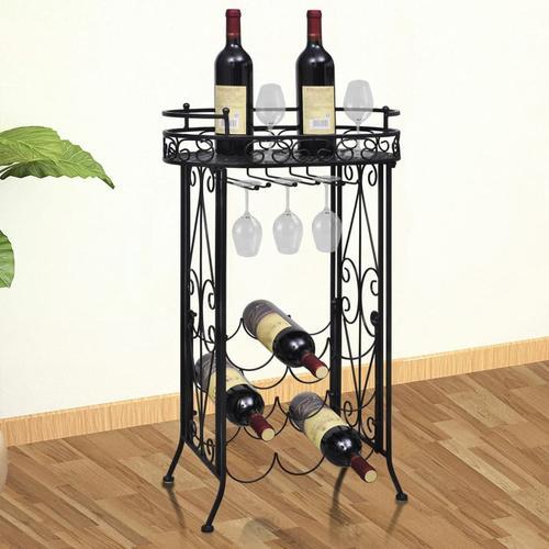 vidaXL Weinregal für 9 Flaschen mit Stielglashalter Metall