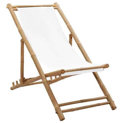 vidaXL Garten-Liegestuhl Bambus und Segeltuch
