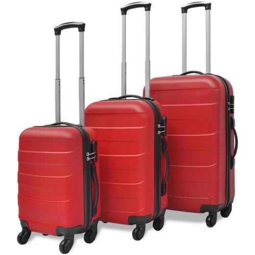 vidaXL 3-tlg. Hartschalen-Reisekoffer-Set Trolley Rot