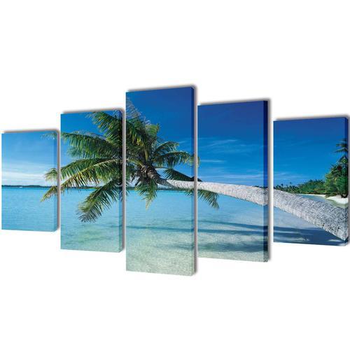 vidaXL Bilder Dekoration Set Strand mit Palmen 100 x 50 cm