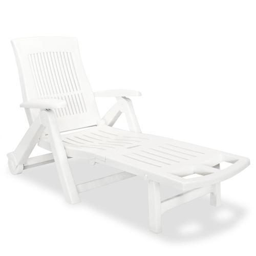 vidaXL Sonnenliege mit Fußablage Kunststoff Weiß