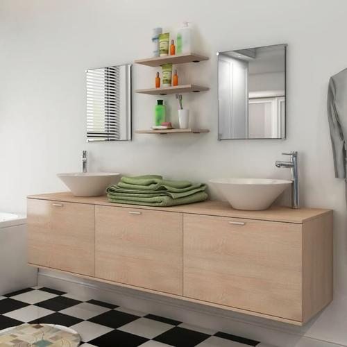vidaXL 10-tlg. Badmöbel-Set mit Waschbecken und Wasserhahn Beige