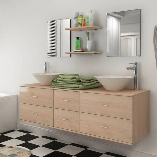 vidaXL 9-tlg. Badmöbel-Set mit Waschbecken und Wasserhahn Beige