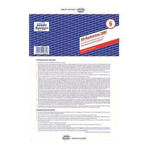 Formularvordruck »Kaufvertrag gebrauchtes Kfz« weiß, Avery Zweckform, 21x29.7 cm