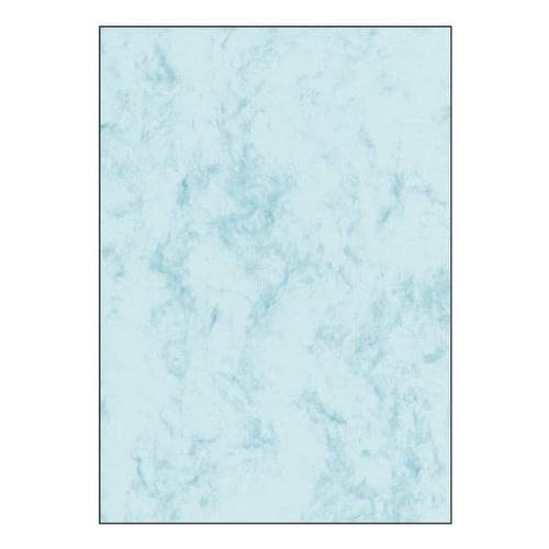 Marmorpapier - 50 Blatt - 200g/m² blau, Sigel, 21x29.7 cm