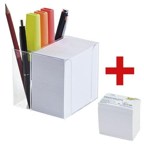 Zettelbox mit Stiftehalter inkl. Ersatzklotz weiß, folia, 9.5x9.5x9.5 cm