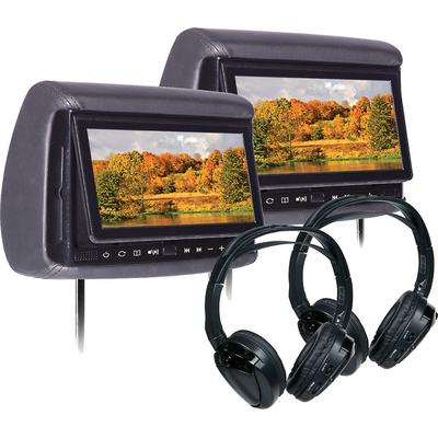 """Concept BSD705PKG Bundle with Two 7"""" Headrest Monitor, Two Headphones"""