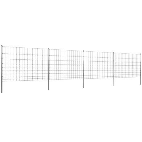 vidaXL Gratenzaun Wildzaun mit Pfosten Verzinktes Eisen 50 m 120/10/15