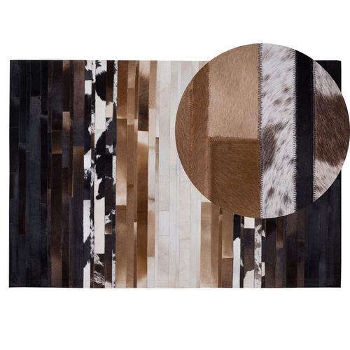 Teppich Schwarz mit Beige 140 x 200 cm Kurzhaarteppich aus Leder Handgefertigt Rechteckig Modern