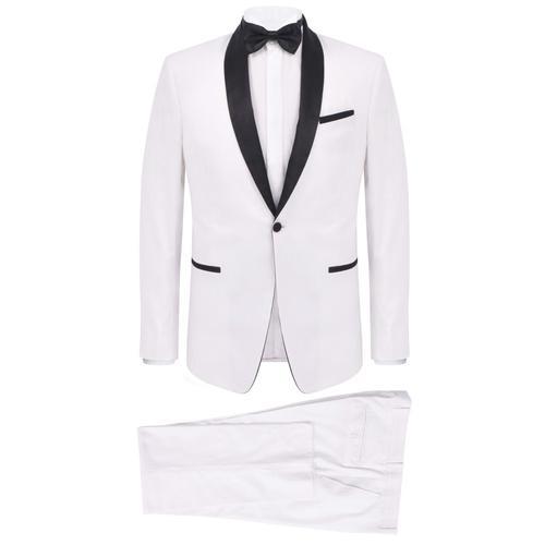 vidaXL Zweiteiliger Abendanzug Black Tie Smoking Herren Größe 56 Weiß