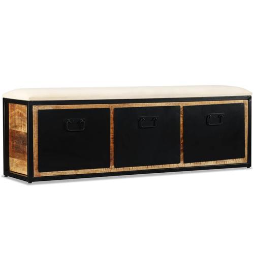vidaXL Aufbewahrungsbank 3 Schubladen Mangoholz Massiv 120x30x40 cm