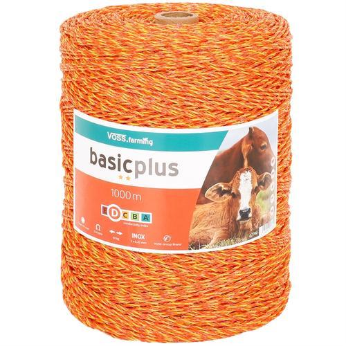 VOSS.farming Weidezaun-Litze 1000m, 3x 0,20 Niro, gelb-orange