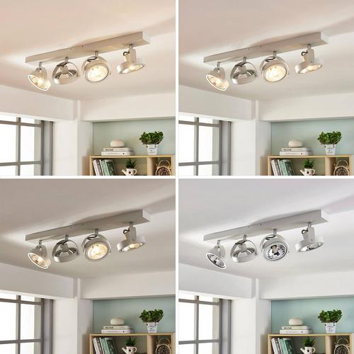 Längliche LED-Deckenlampe Lieven, 4-fl. weiß