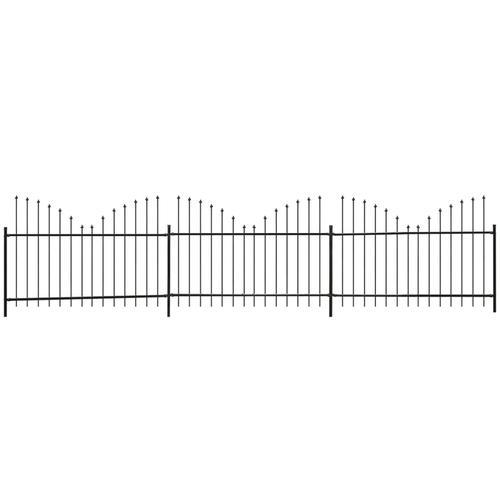 vidaXL Gartenzaun Speerspitzen Invertiert Stahl (1,25-1,5)x6 m Schwarz