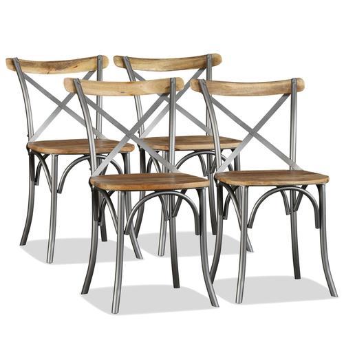 vidaXL Esszimmerstühle 4 Stk. Mangoholz Massiv und Stahl-Kreuzlehne