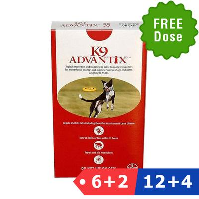 K9 Advantix Large Dogs 21-55 Lbs (Red) 12 + 4 Doses Free