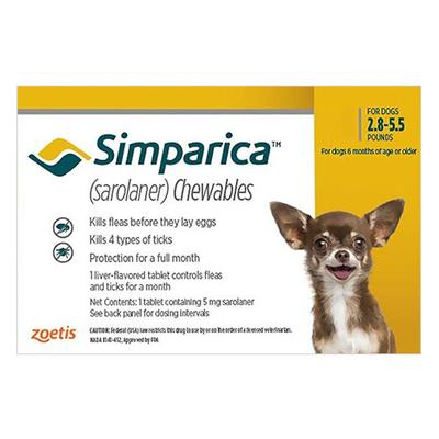 Simparica For Dogs 2.8-5.5 Lbs (Yellow) 3 Chews