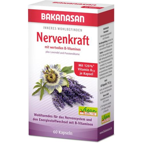 Bakanasan Nervenkraft plus Lavendel und Passionsblume Kapseln 60 Stk. Nahrungsergänzungsmittel