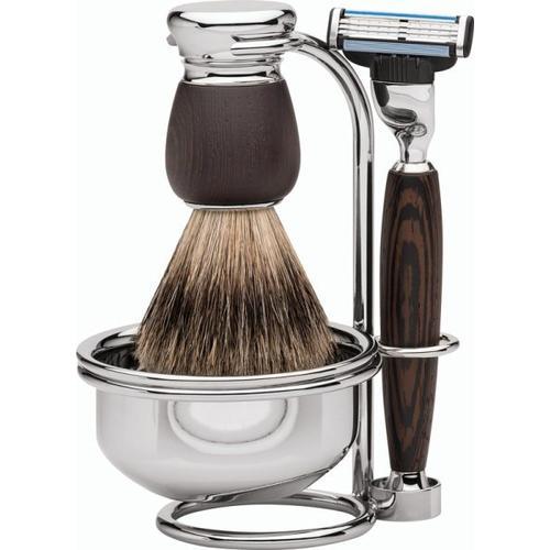 Erbe Shaving Shop Premium Design MILANO Rasiergarnitur mit Seifenschale Dachshaar & Mach3 Wengeholz Rasierset