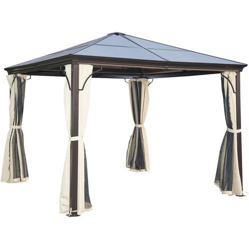 Outsunny® Luxus Pavillon Alu Partyzelt mit lichtdurchlässigem PC Dach - braun/natur