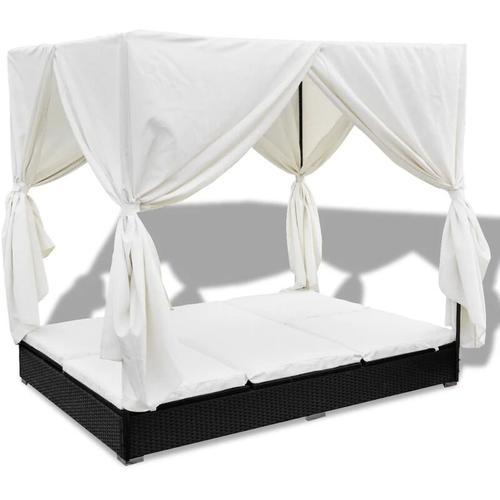 Vidaxl - Outdoor-Loungebett mit Vorhang Poly Rattan Schwarz