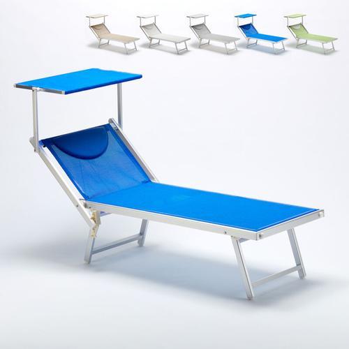 Professionelle Italienische Sonnenliege Aluminium Italia | Blau