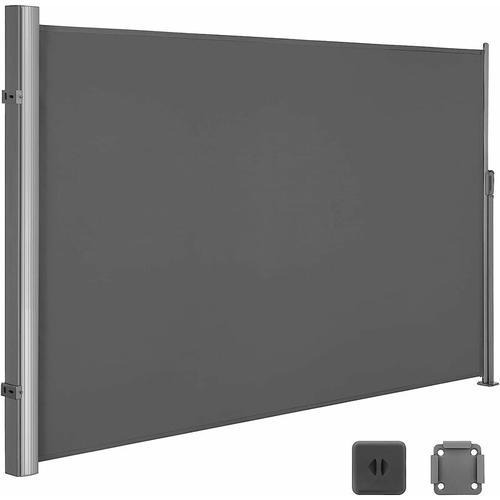 Seitenmarkise 200 x 300cm Markisenstoff aus Polyester 280g/m² 2 Montagearten Rauchgrau GSA200G