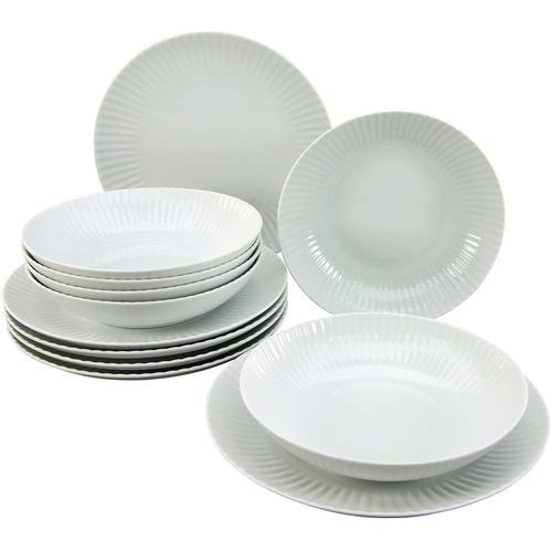 CreaTable Tafelservice ALLEGRA, (Set, 12 tlg.), Mikrowellengeeignet weiß Geschirr-Sets Geschirr, Porzellan Tischaccessoires Haushaltswaren