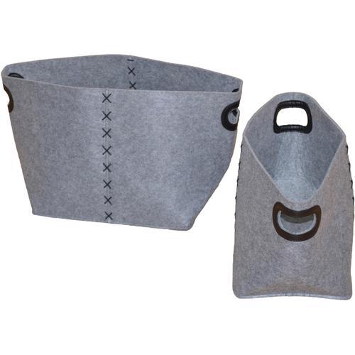 Aufbewahrungskorb, (Set, 2 St.) grau Aufbewahrungskorb Körbe Aufbewahrung Ordnung Wohnaccessoires