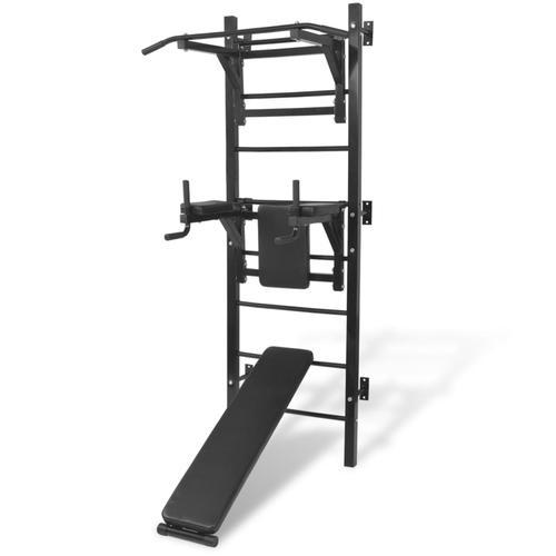 vidaXL Multifunktionaler Fitness-Kraftturm zur Wandmontage Schwarz