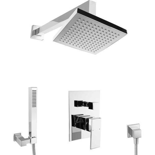 Paulgurkes - Duschsystem zur Unterputzmontage Regendusche Komplett Set eckig