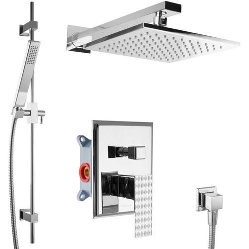 Paulgurkes - UP-Dusche Set Fertigmontage Regendusche mit Duschstange Brausegarnitur