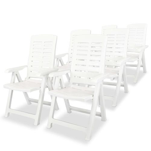 vidaXL Garten-Liegestühle 6 Stk. Kunststoff Weiß