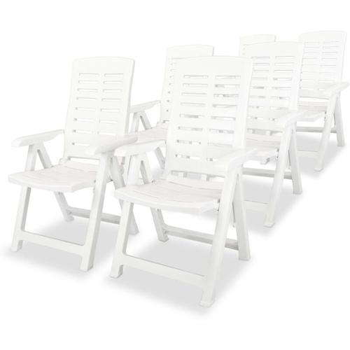 Verstellbare Gartenstühle Kunststoff Weiß 6 Stk.