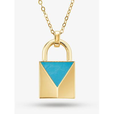 Michael Kors 14K Gold-Plated Sterling Silver Turquoise Large Lock Necklace Gold One Size