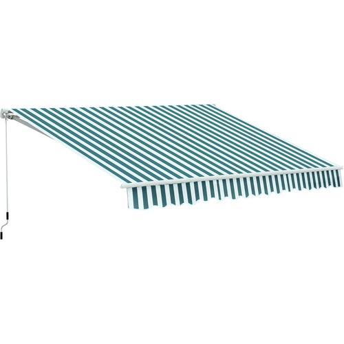 Outsunny® Alu Gelenkarm-Markise 3,5m x 2,5m Sonnenschutz grün-weiß - grün/weiß
