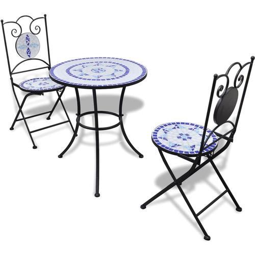 3-tlg. Bistro-Set Keramikfliesen Blau und Weiß