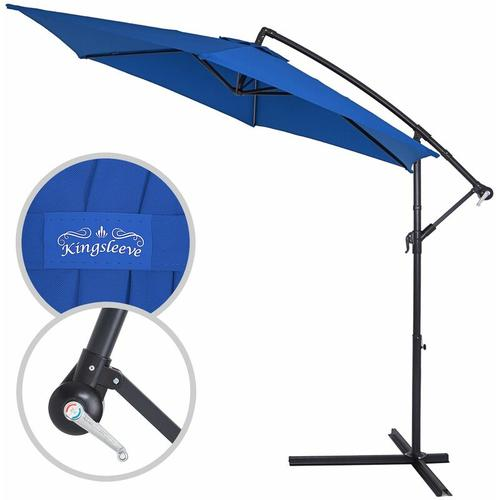 Sonnenschirm Ampelschirm ALU Ø300cm-330cm Marktschirm Kurbelschirm Gartenschirm blau, 350cm
